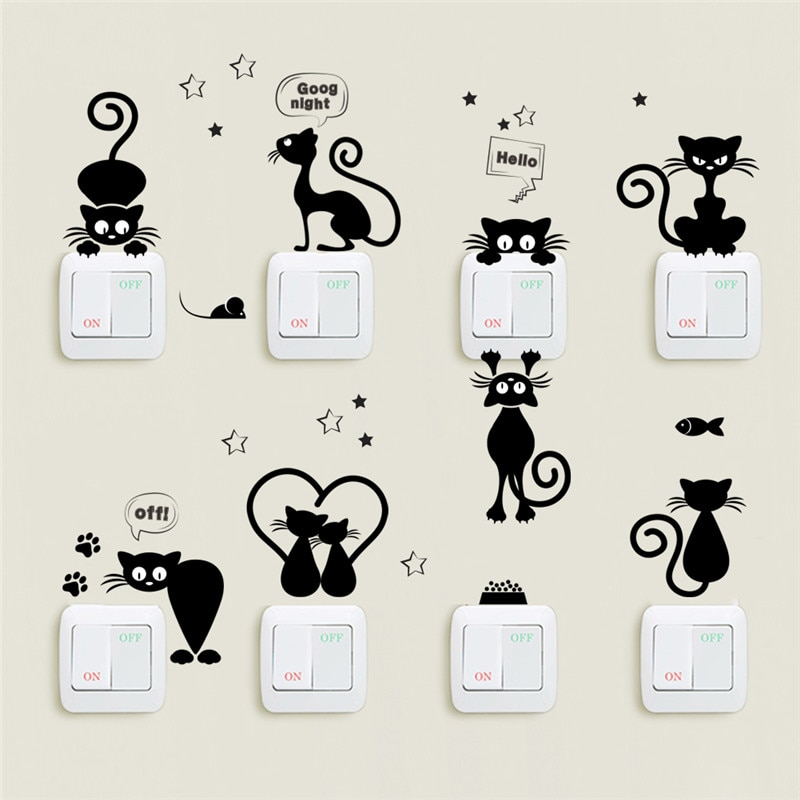 Lot de neuf stickers chats