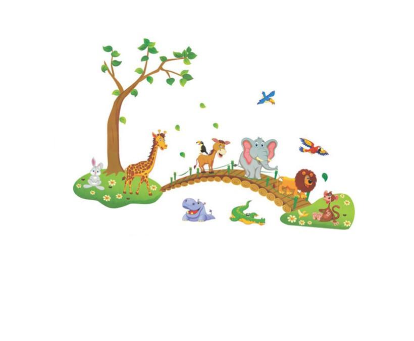 Sticker Animaux de la jungle sur un pont