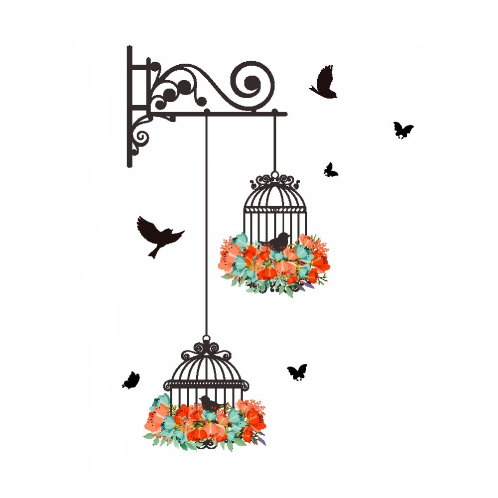 Sticker Oiseaux cage et fleurs
