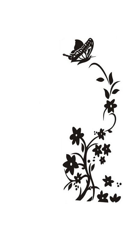 Sticker Fleurs et papillon