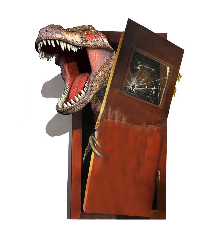 Sticker Trompe l\'oeil Tyrannosaure