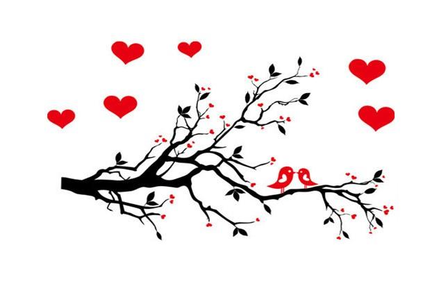 Sticker Amour hirondelles