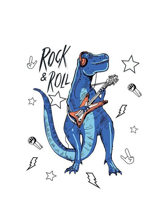 1323 Sticker Dinosaure musique fblanc