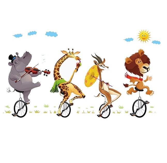 Sticker Farandole des animaux sur monocycle