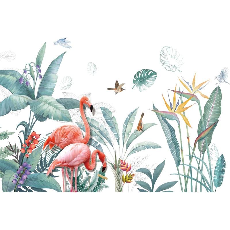 Grand-flamant-rose-herbe-Stickers-muraux-pour-salon-chambre-plinthe-amovible-bricolage-Stickers-muraux-Art-d