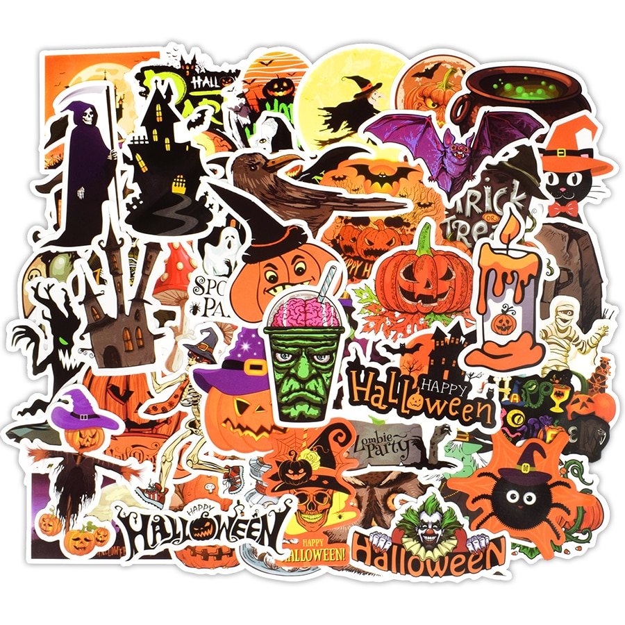 Lot de 50 mini stickers Halloween