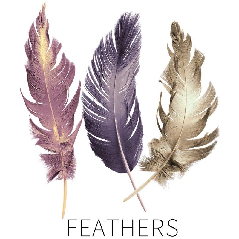 3-couleurs-plumes-style-nordique-Stickers-muraux-salon-chambre-bureau-enfants-chambre-d-cor-vinyle-Stickers