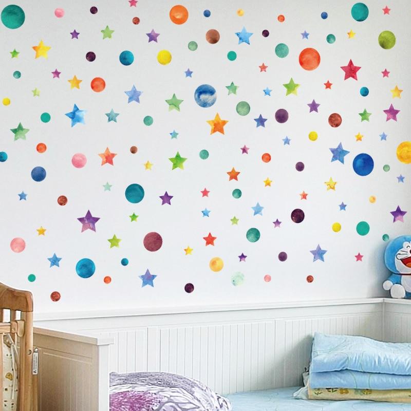 arc en ciel couleur points toile sticker mural pour enfants chambre enfants d cor la maison