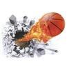 1334 Sticker Trompe l'oeil Ballon de basket fblanc