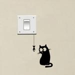 sticker chat poisson humour drole autocollants decoration mignon chambre salon cuisine couloir bureau