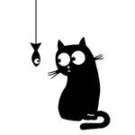 sticker chambre salon cuisine couloir bureau chat poisson humour drole autocollants decoration mignon