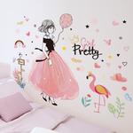 Shijuekongjian-bande-dessin-e-fille-Stickers-muraux-bricolage-p-che-fleurs-v-lo-Stickers-muraux