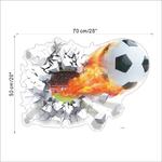 ballon foot feu enfants decoration chambre garcon sport stickers football autocollants muraux