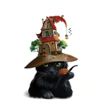 1489 Stickers Chats Halloween - CHAT NOIR - FB