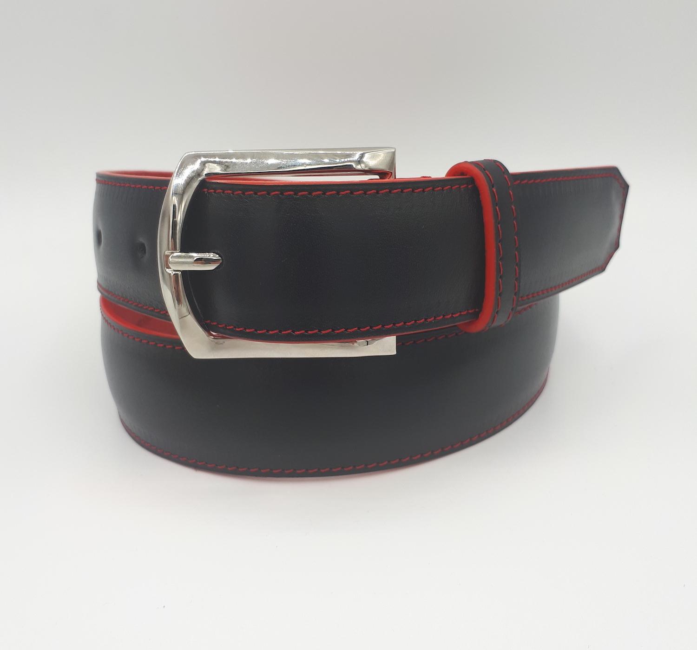 Ceinture cuir noir lisse, intérieur cuir graine rouge