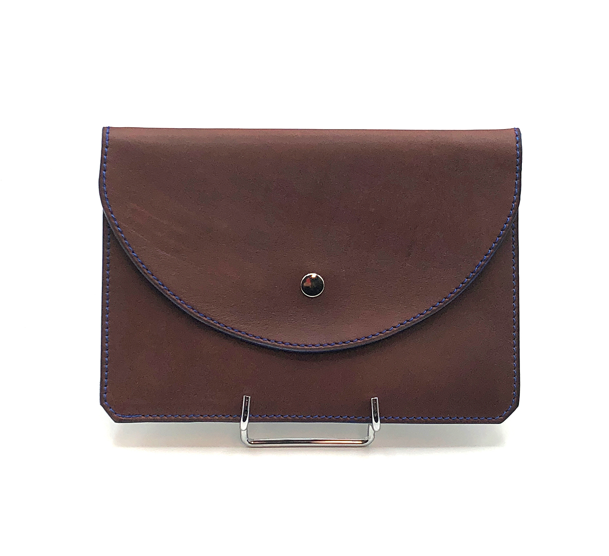Porte Belote cuir lisse marron