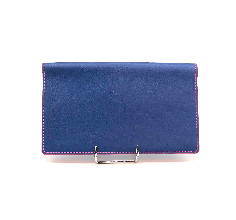 Porte Chéquier cuir lisse bleu dur