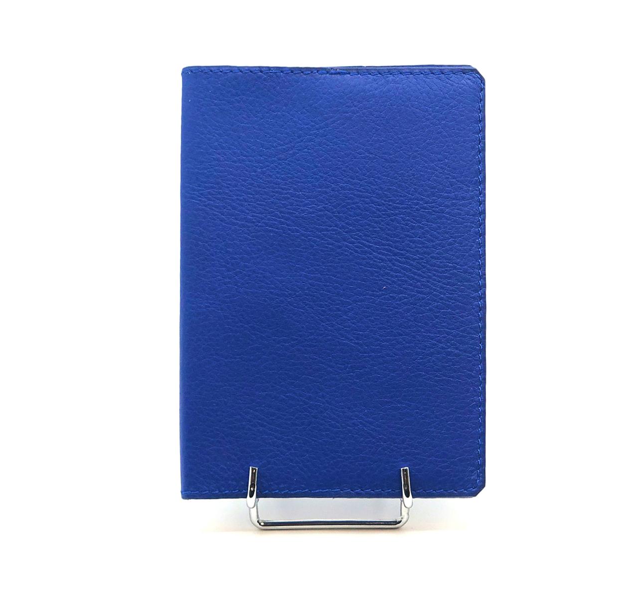 Porte Passeport cuir grainé bleu dur