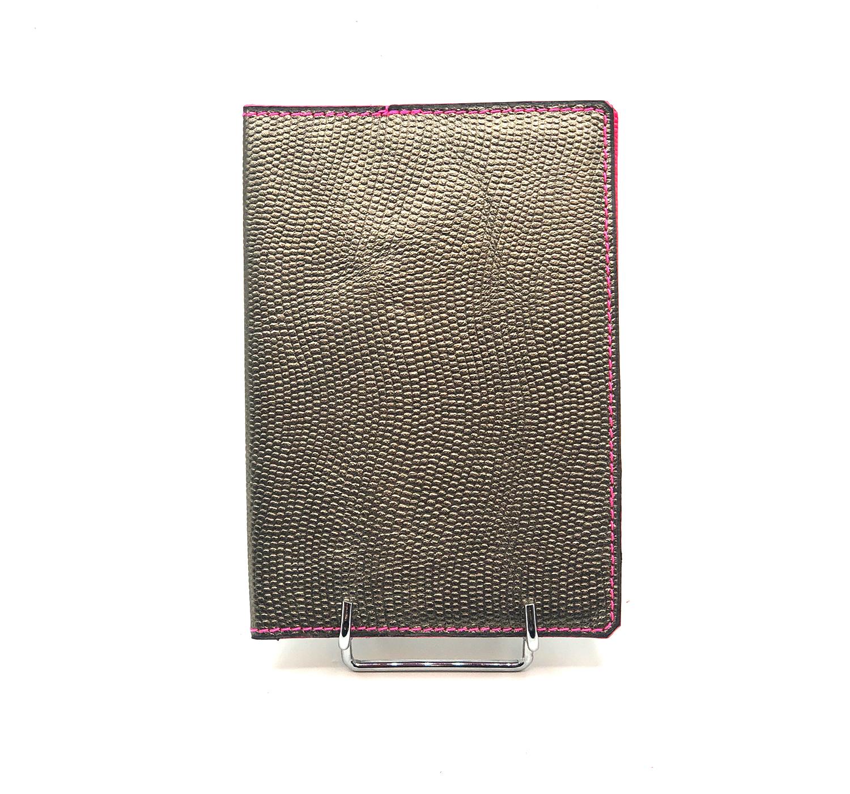 Porte passeport cuir grainé argenté