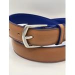 ceinture cuir beige, bleu dur - volcie maroquinerie sur mesure