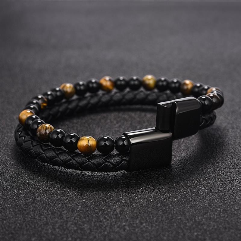 Jiayiqi-6MM-pierre-naturelle-hommes-Bracelet-noir-en-cuir-v-ritable-boucle-magn-tique-Bracelet-18