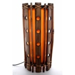 Lampe cylindrique en bambou perforé - orange