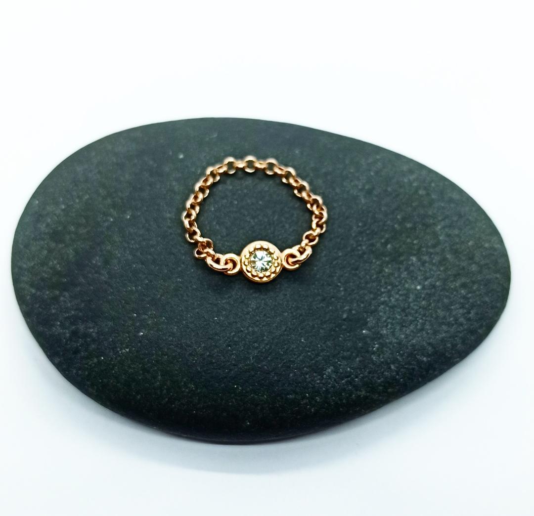 Bague chaîne dorée rose et cristal Swarovski