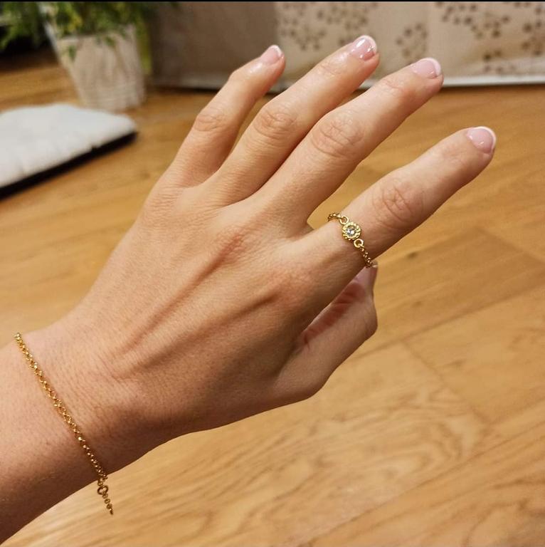 Bague chaîne dorée et cristal Swarovski
