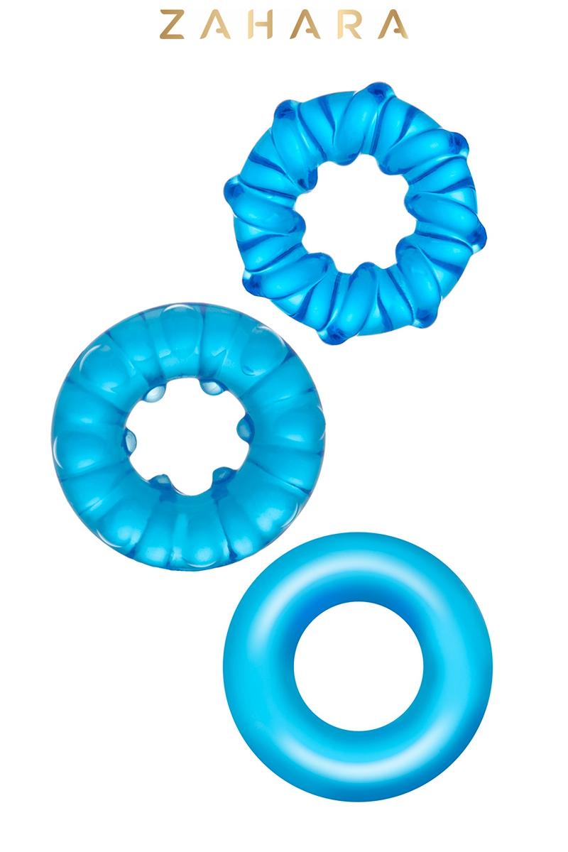 3 Cockrings Strech Rings bleu - Zahara