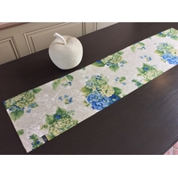 Chemin de table Hortensias bleus