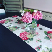 Chemin de table Hortensias roses