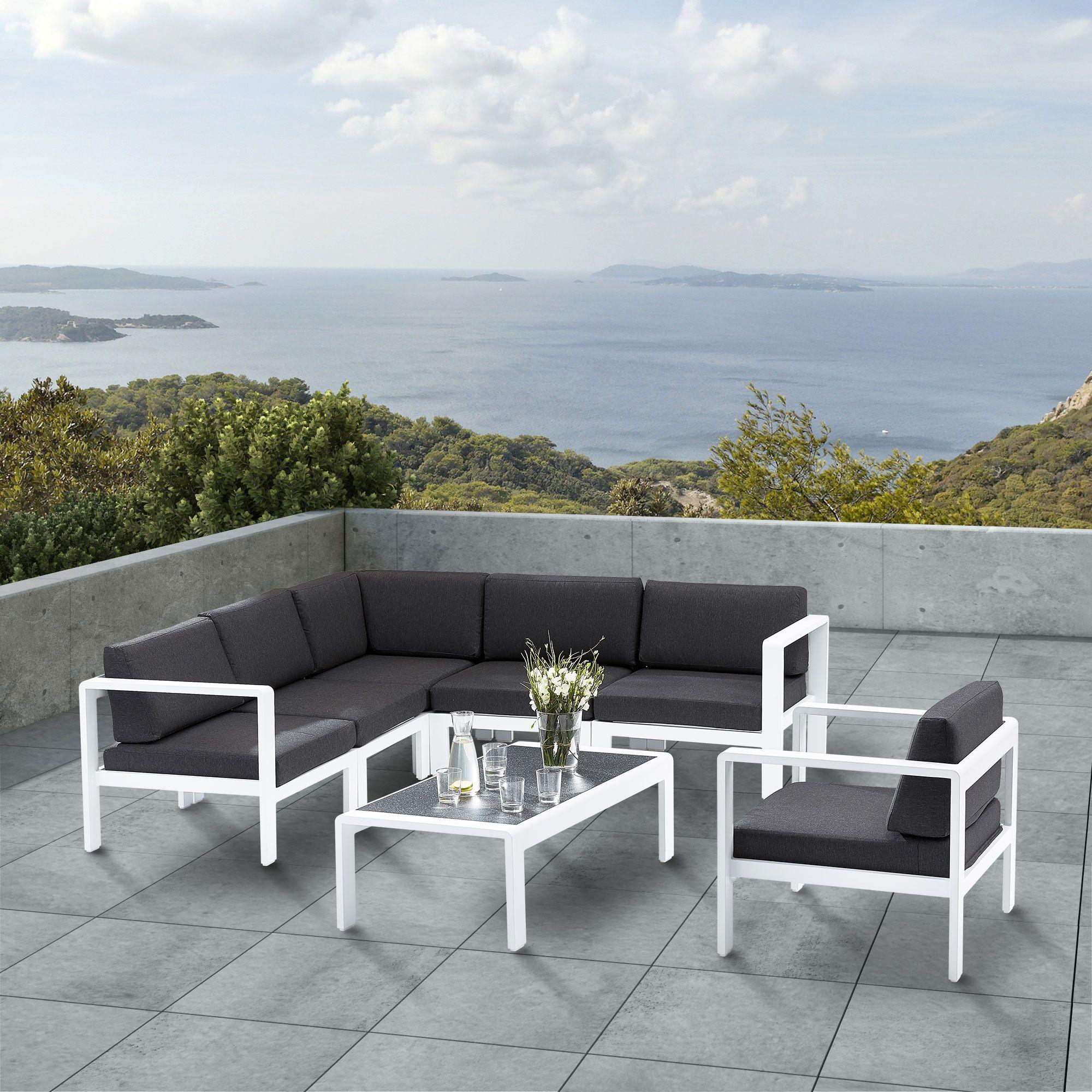 salon de jardin en alu  1 canapé 5 pers  1 fauteuil  1
