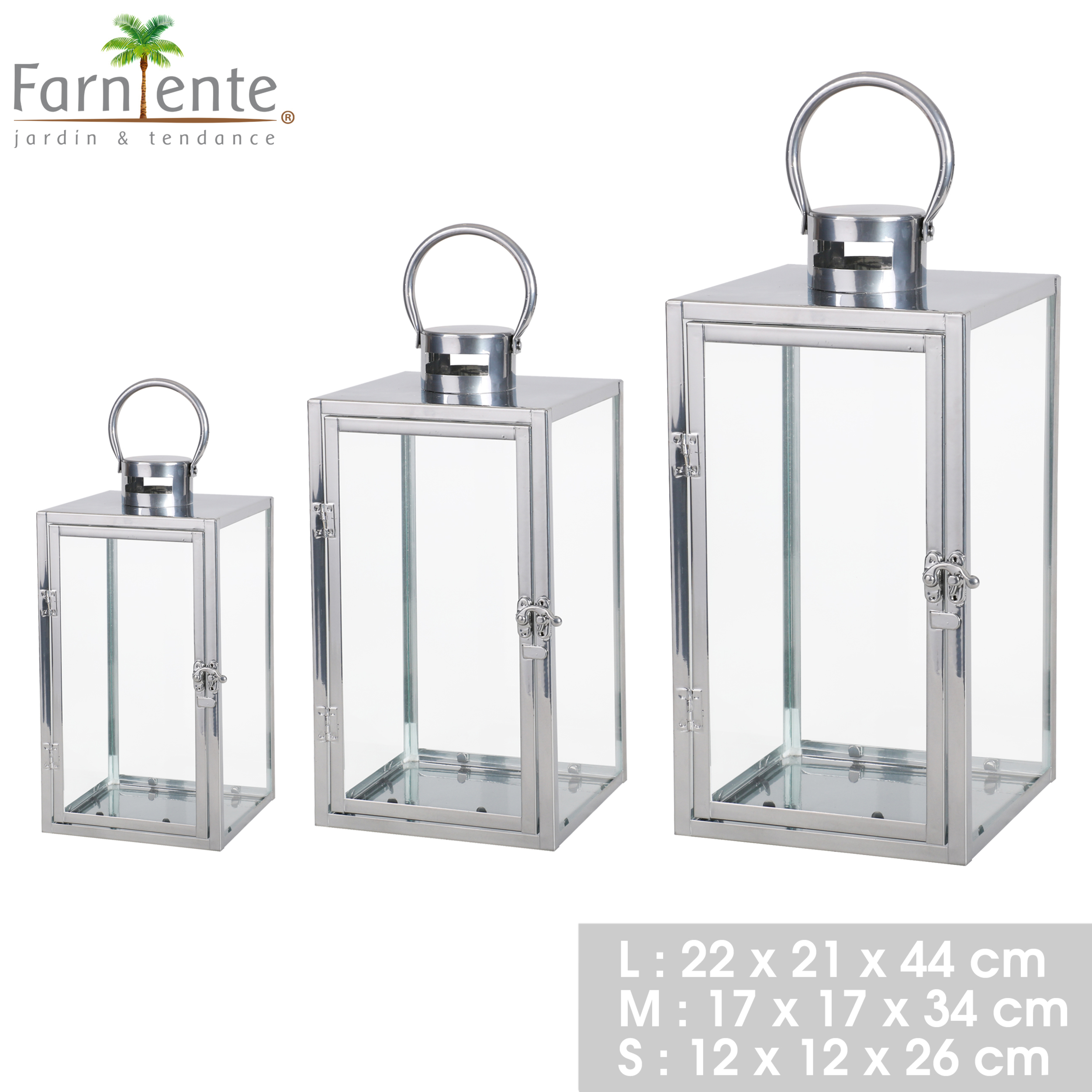 SET DE 3 LANTERNES EN METAL