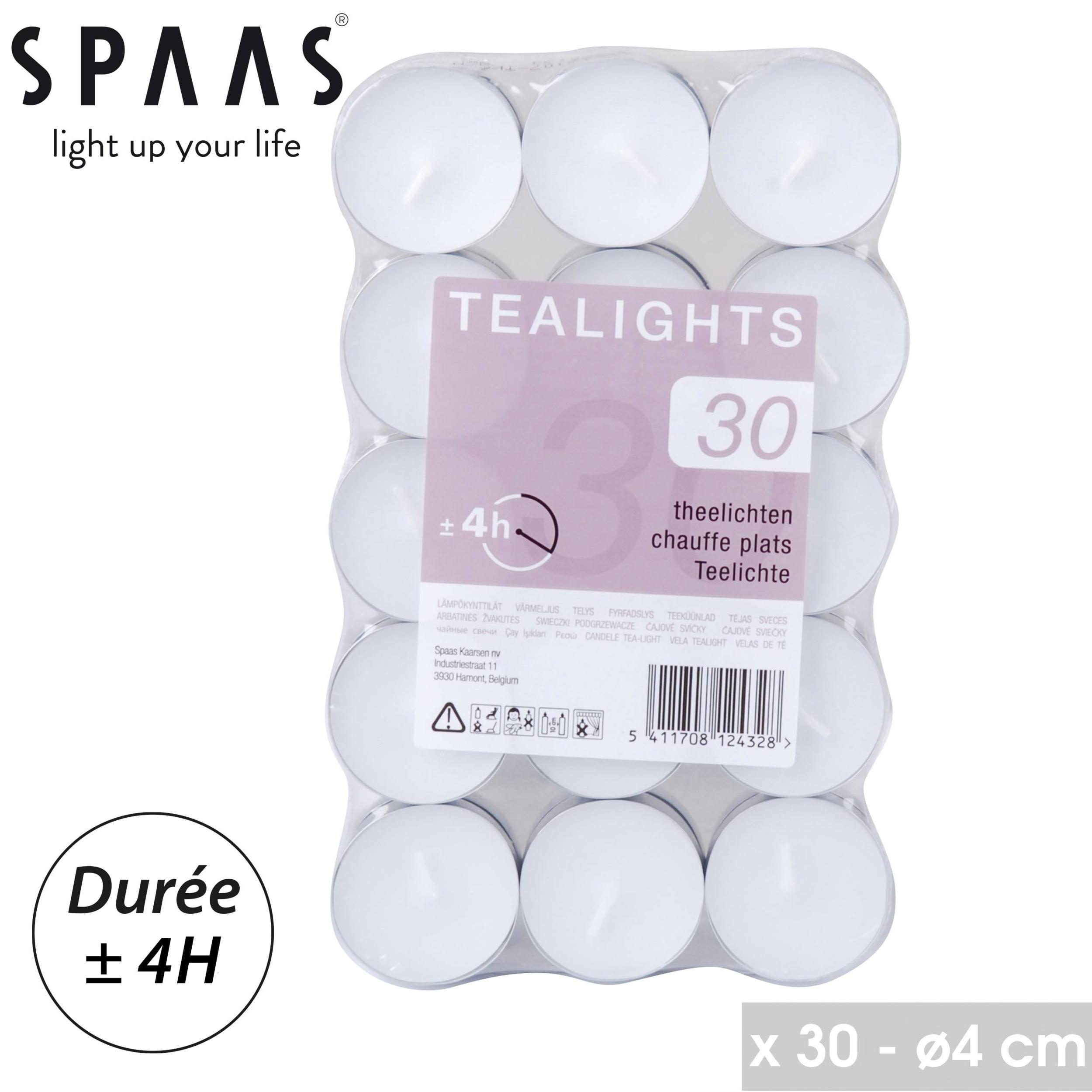 SPAAS - BOUGIES CHAUFFE-PLATS X 30 - COULEUR BLANC