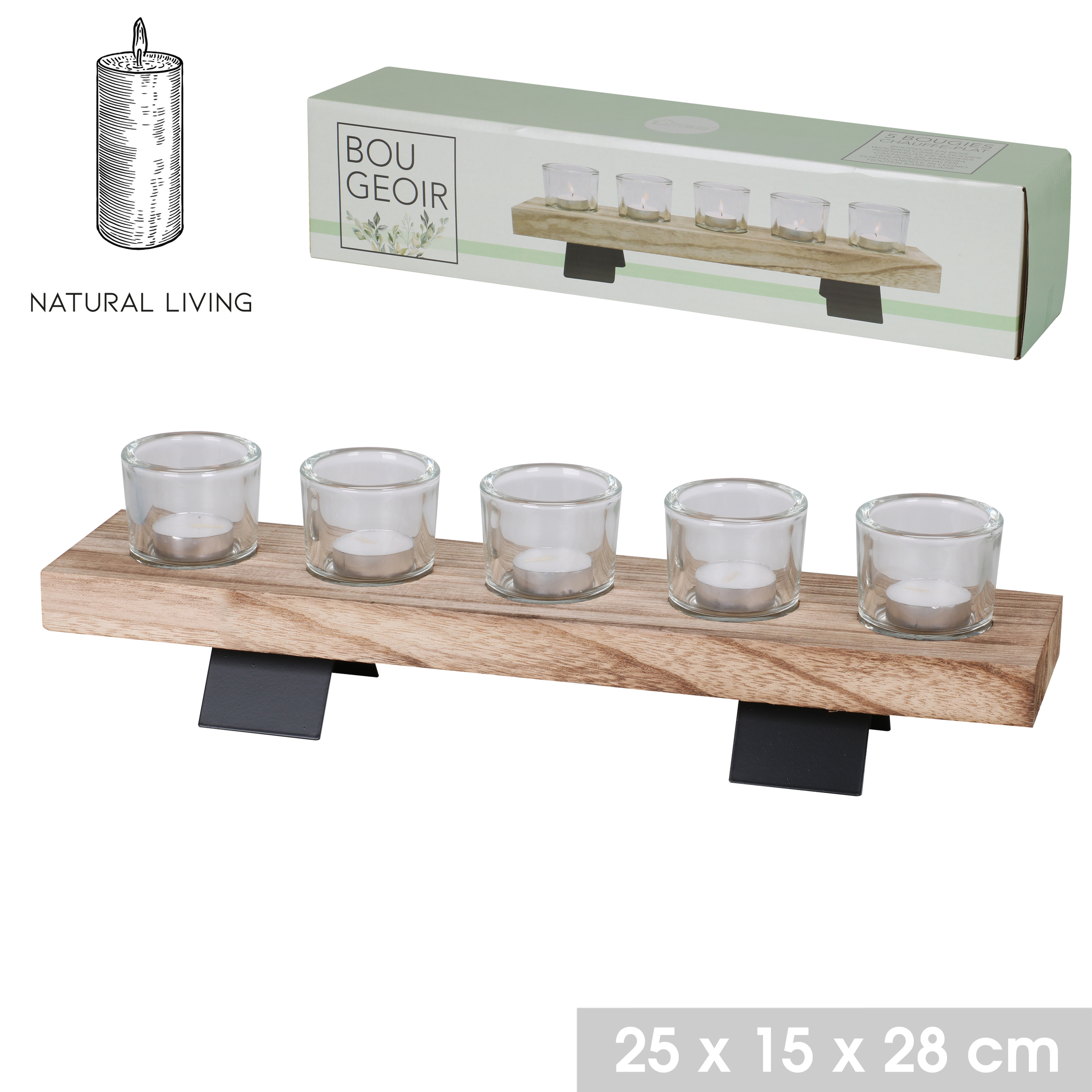 Bougeoir support bois pied metal