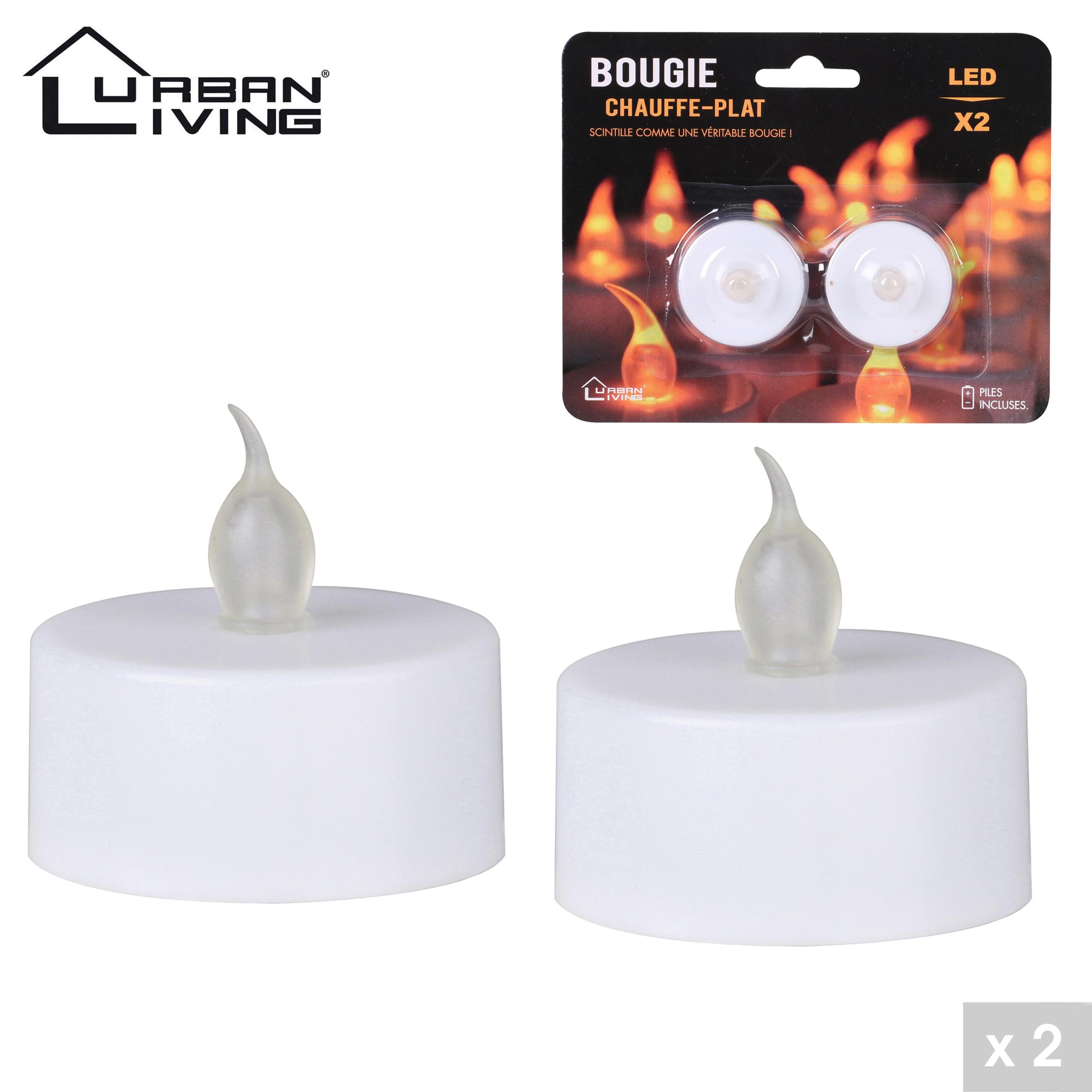 Bougie chauffe-plat LED x 2