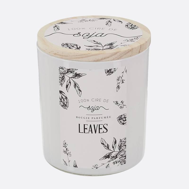Leaves bougie-parfumee-cire-de-soja-top-bois-h97cm