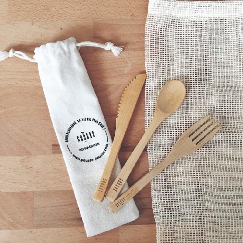 Set de couverts bambou réutilisables: Kit couteau, fourchette et cuillère