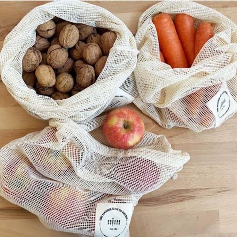 3 Sacs à vrac zéro déchet réutilisables en coton bio pour fruits et légumes