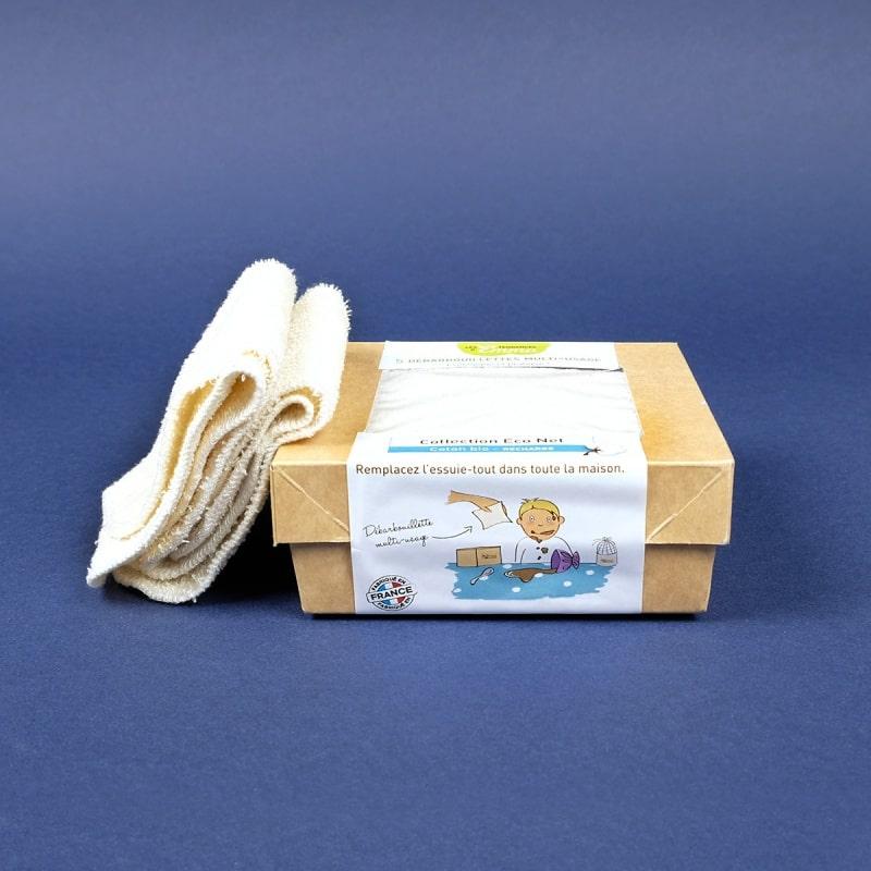 5 Débarbouillettes lavables multi-usages en bambou ou coton bio
