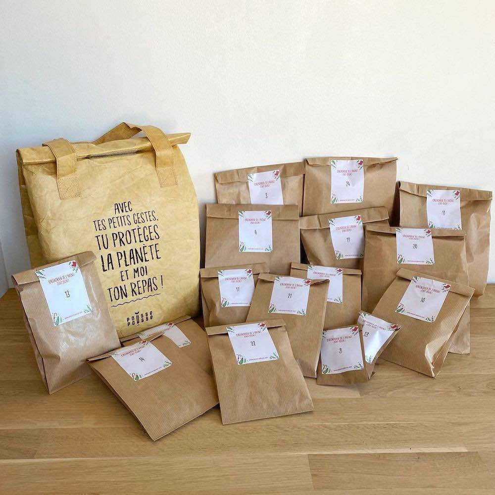 calendrier de l'avent zéro déchet avec des emballages en papier kraft