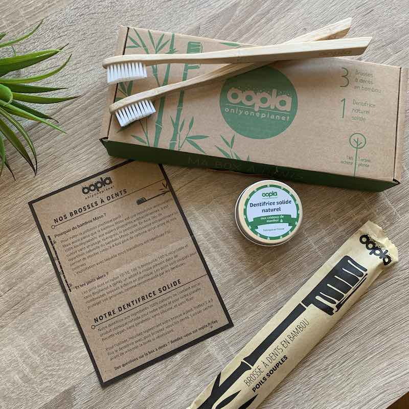 Kit brosses à dents bambou et dentifrice solide naturel menthe