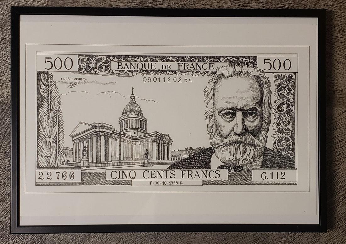 Dessin original du billet 500F Victor Hugo