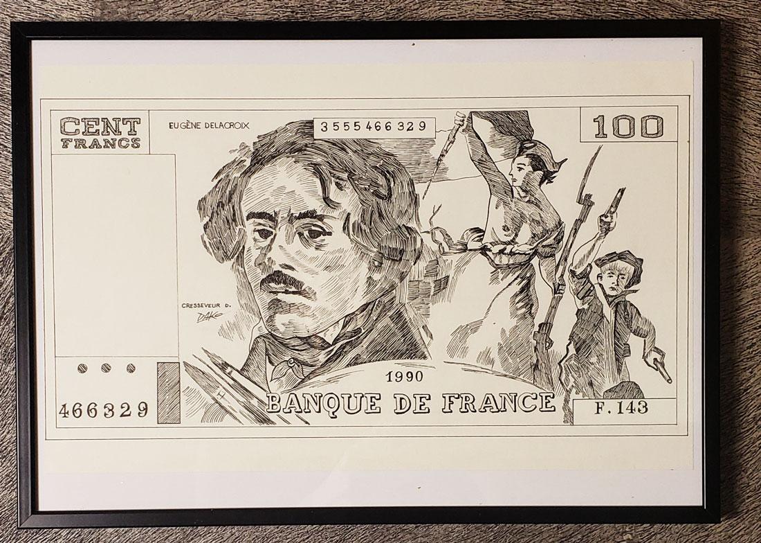 Dessin original du billet 100F Delacroix