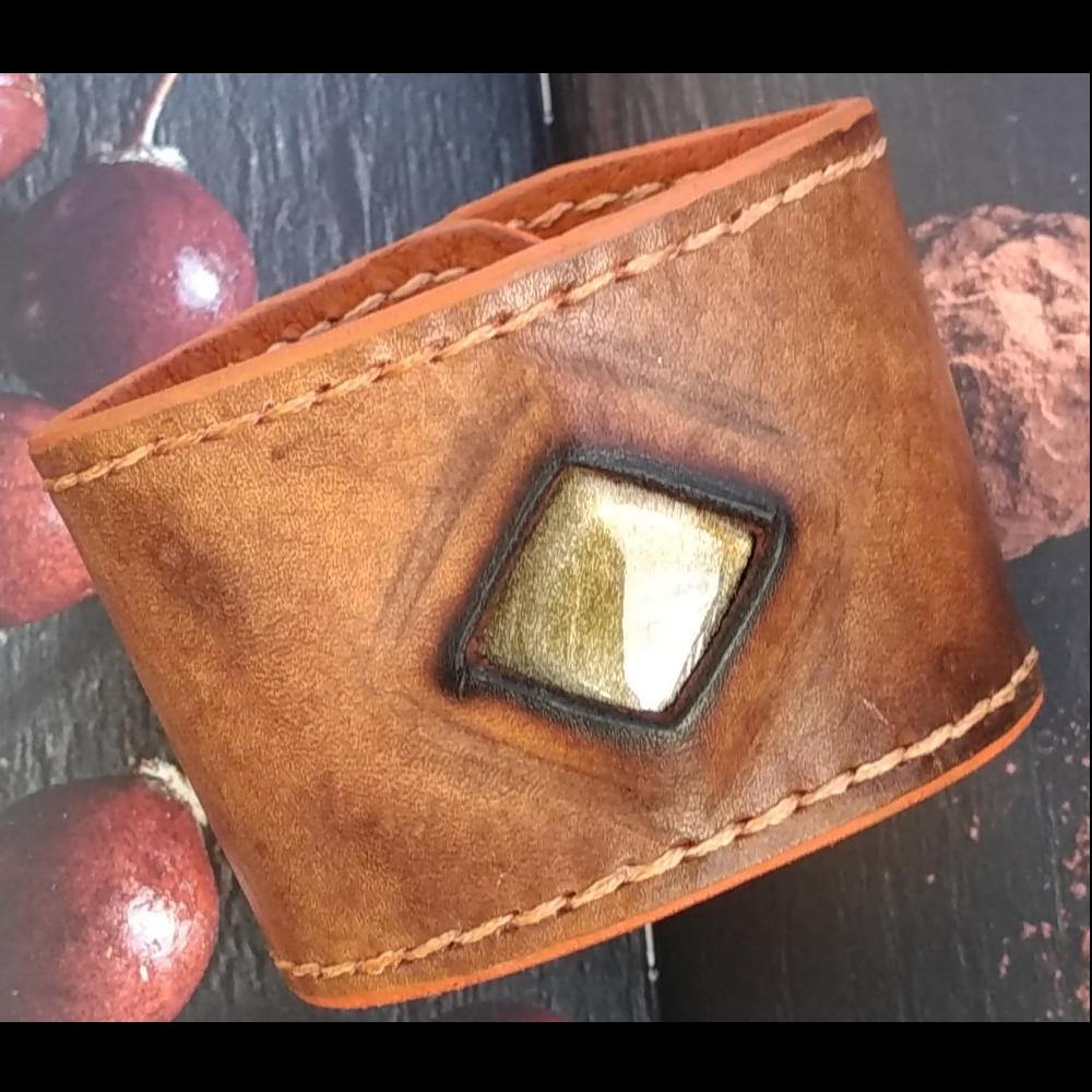 Soleil du Mexique-Bracelet cuir et pierre
