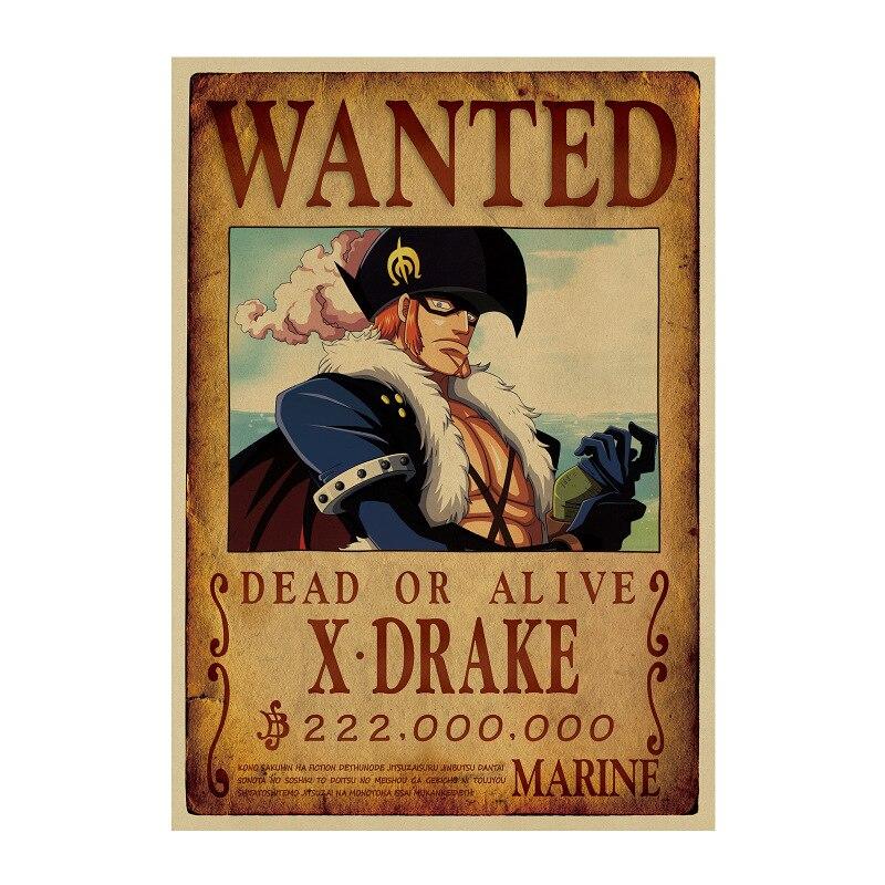 affiche wanted avis de recherche x drake one piece