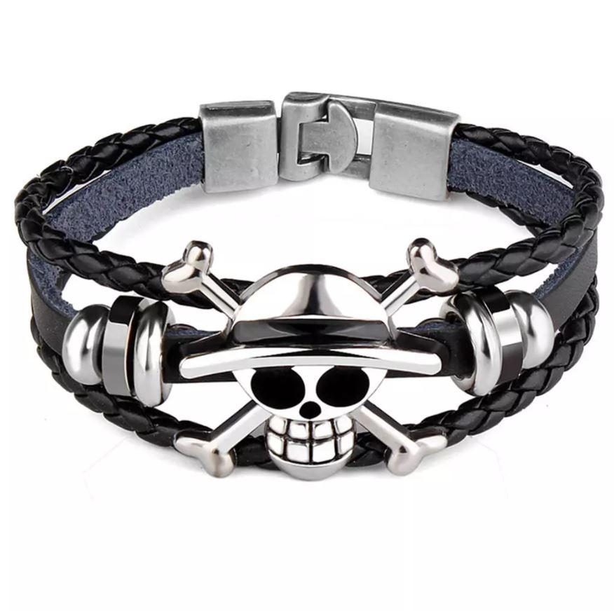 bracelet cuir argent one piece 1