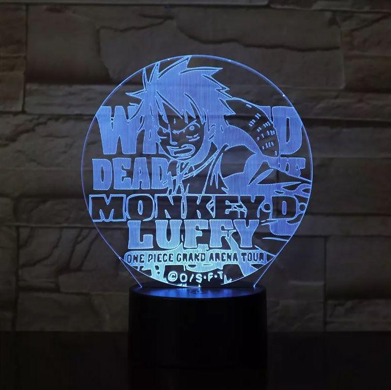 lampe 3d one piece luffy arena tour bleu