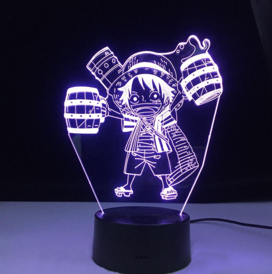 lampe 3d one piece mini monkey luffy bleu 2
