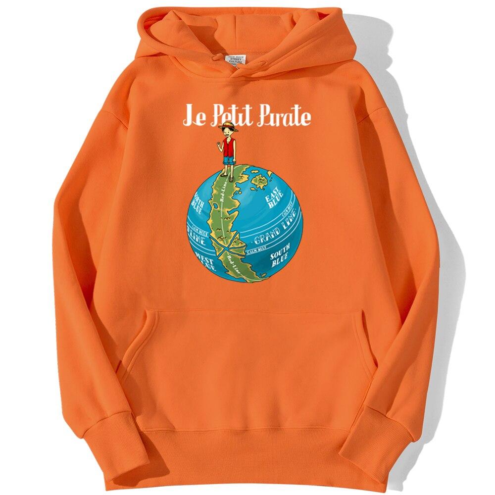 sweatshirt hoodie one piece petit pirate orange